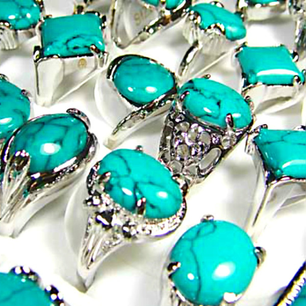 top popular Top Women Fashion Turquoise Green Stone Silver Plated Rings Whole Jewelry Bulk Lots Free Shipping LR073 2019