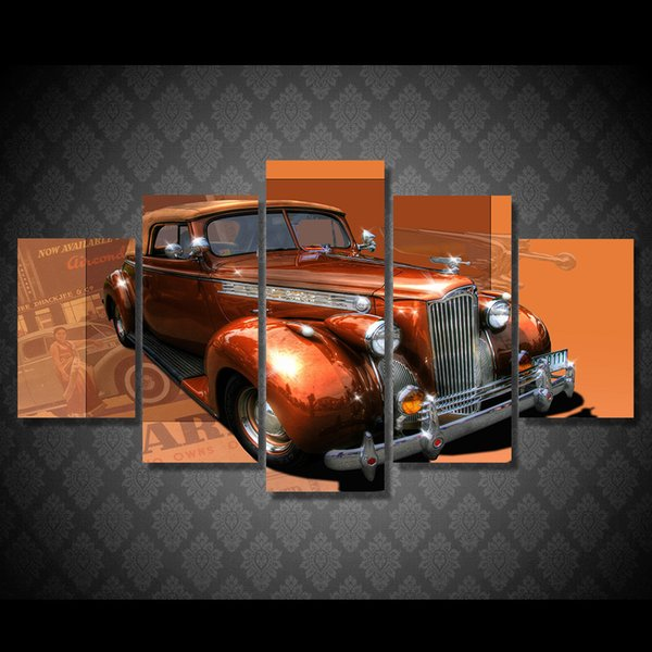 5Pcs/Set HD Printed retro car Painting Canvas Print room decor print poster picture canvas thomas kinkade