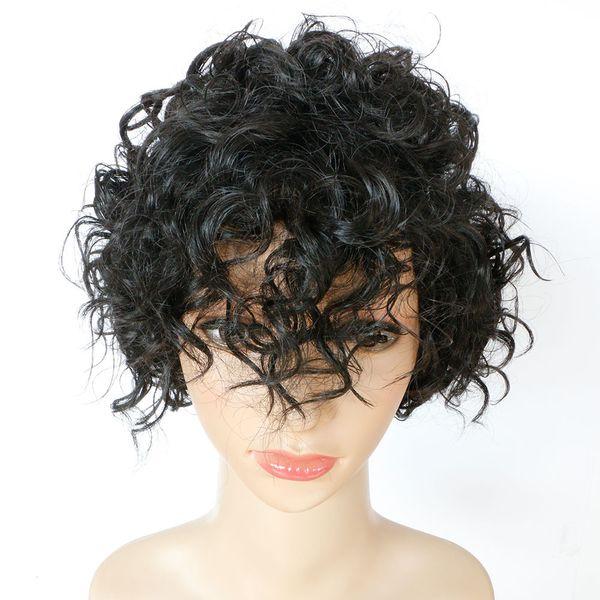 Женская вьющиеся кружева с волосами младенца парик синтетические кружева фронт парик жаропрочных афро кудрявый дешевые кудрявый вьющиеся парик девушки для чернокожих женщин Африки