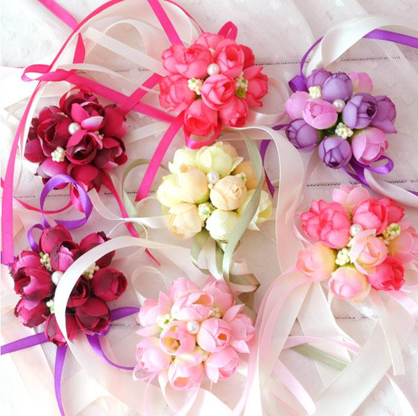 party cup chair decoration Bride wrist flowers Sister Hand Flower Groom Boutonniere best man corsage prom Wedding Flower 5colors GIFT