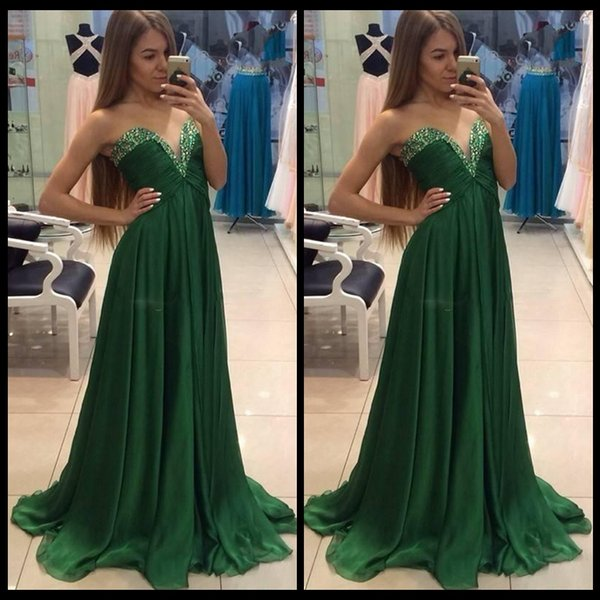 Dark Green Chiffon Prom Dresses With Beads A Line Sweetheart Maternity  Party Gowns Plus Size Formal Paarty Evening Dress Vestidos Prom Dresses  Under ...