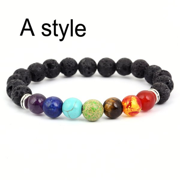 8mm Natural Lava Rock Stones Beads Bracelets Men Women Yoga Beads Aromatherapy Essential Oil Diffuser Bracelets 7 Chakra Bracelet B124S A