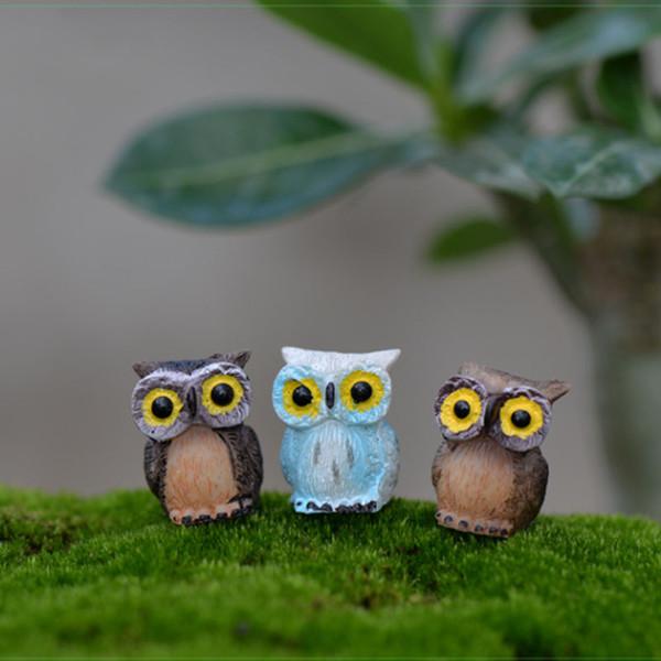 12pcs Kawaii Night Owl Resin Craft Fairy Garden Miniatures Succulent Gnomes Bonsai Tools terrarium Figurines Dollhouse Decor Micro Landscape