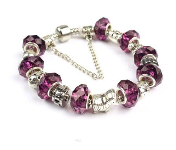 2017 Pandora Style Charm bracelets 925 Silver Murano Glass Beads Purple Crystal European Charm Beads For Charm bracelets Bangles DIY Jewelry