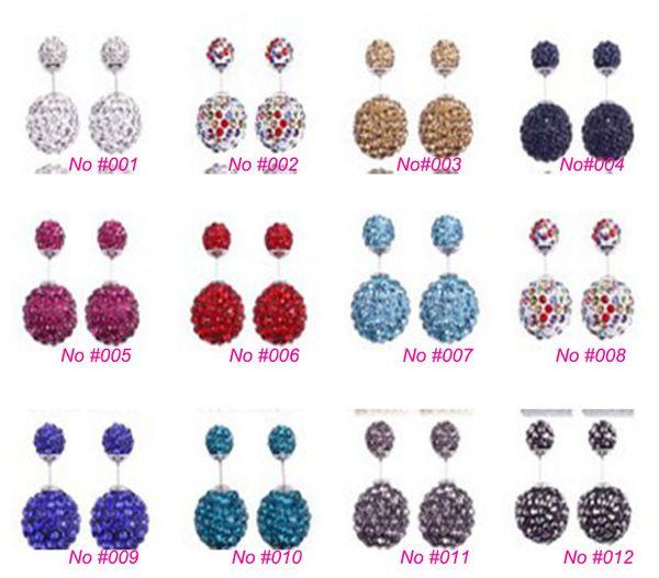 High quality 925 Sterling Silver Double sided Shambala Ball Stud Earrings Fashion Jewelry Diamond Crystal Disco Beads Earings Free Shipping