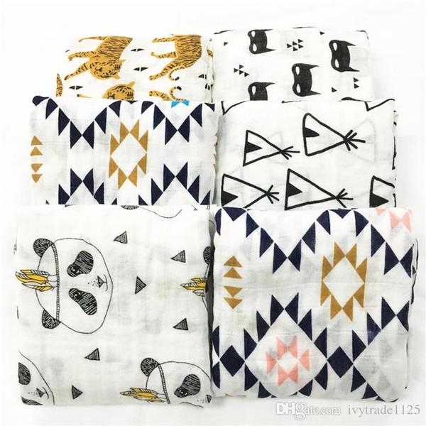 top popular 19 styles Kids Muslin Swaddles Ins Wraps Blankets Nursery Bedding Newborn Organic Cotton Ins Swadding Bath Towels Parisarc Robes Quilt Robes 2020