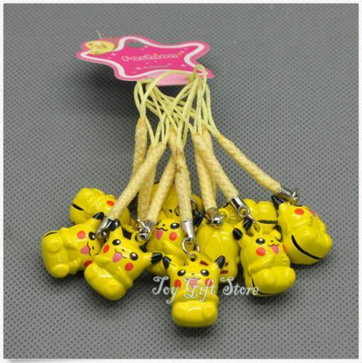 Free shipping ! Hot Sale 100X Yellow Pocket Monsters Pikachu Cell Phone Strap JINGLE BELLS Dangle Charms New