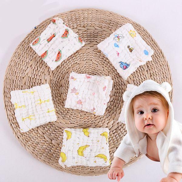Cute cartoon gauze cotton baby bib fruit animal print bandana scarf drool bib soft newborn kerchief feeding bib burp cloths