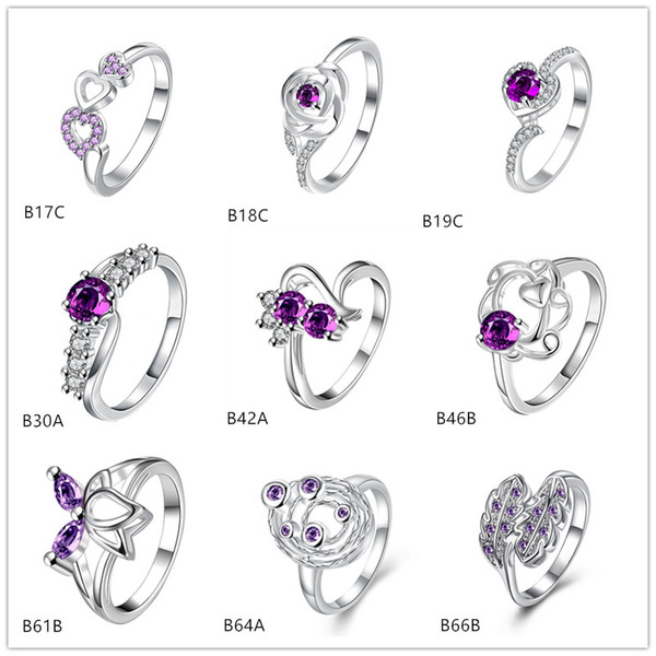 Brand new estilo misto moda roxo gemstone 925 anel de prata EMGR25, planeta Lotus anel de prata esterlina 10 peças muito