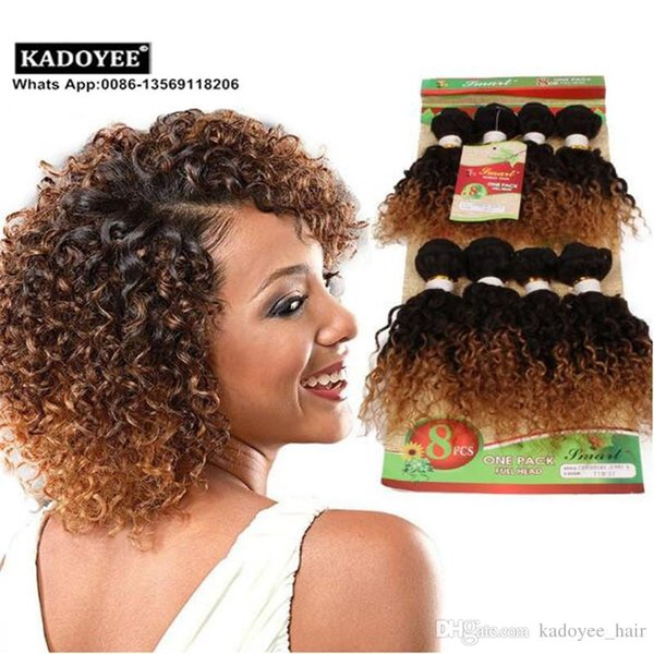 2017 Hot Sale 8pcs one pack full head 8-14inch jerry curly human weave bundles kinky curly virgin hair extensions No shedding no tangle