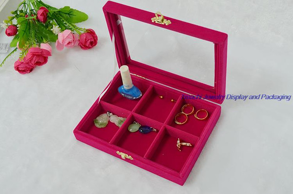 New 6 comparts Jewelry Ring Display Holder Tray for Girls Personal Decorations Storage Case with Glass Top in Rose Red Velvet