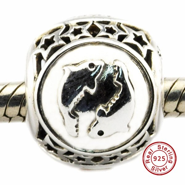 Pisces Star Sign Charm 100% 925 Sterling Silver Bead Fit Pandora Fashion Jewelry DIY Charm Brand