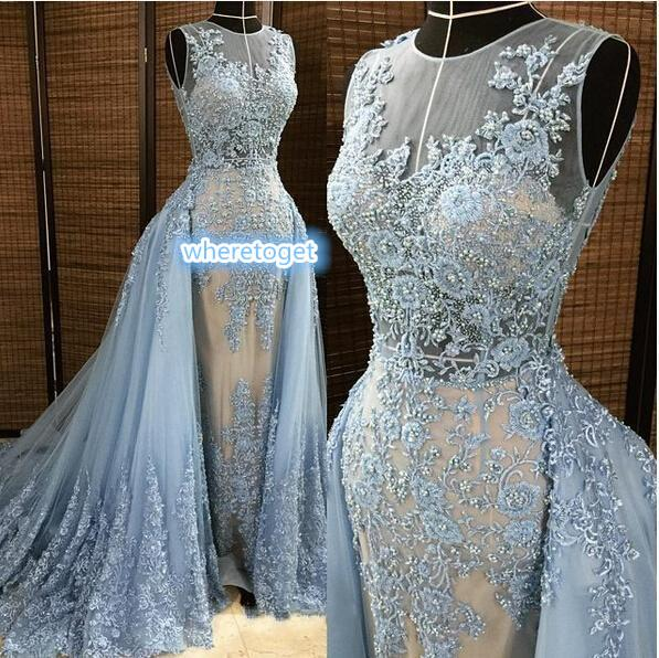 best selling 2019 Elie Saab Evening Dresses Detachable Overskirt Deep V Neck Illusion Blue-gray Pearls Beaded Lace Appliques Tulle Celebrity Prom Gown
