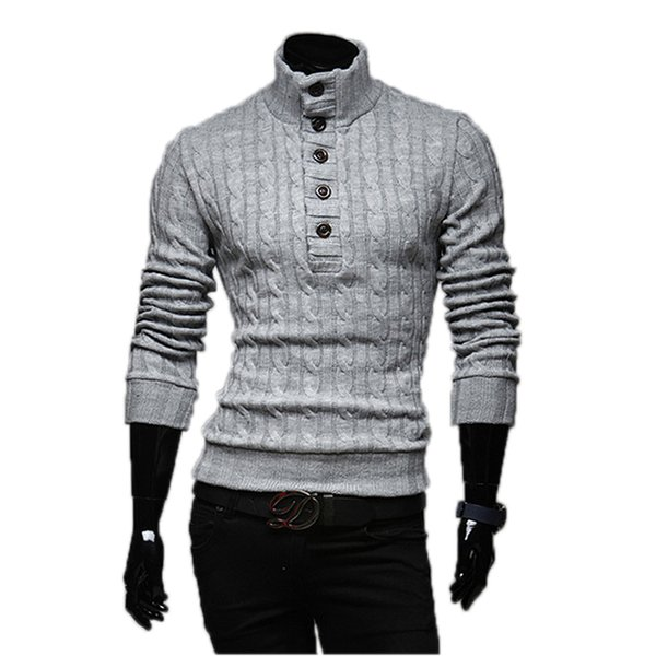 Wholesale- Mens Sweaters 2017 New Men Fashion Winter Coat Long-Sleeved Sweater Male Jacket Casual Sweater High Collar Men Sweater Size XXL