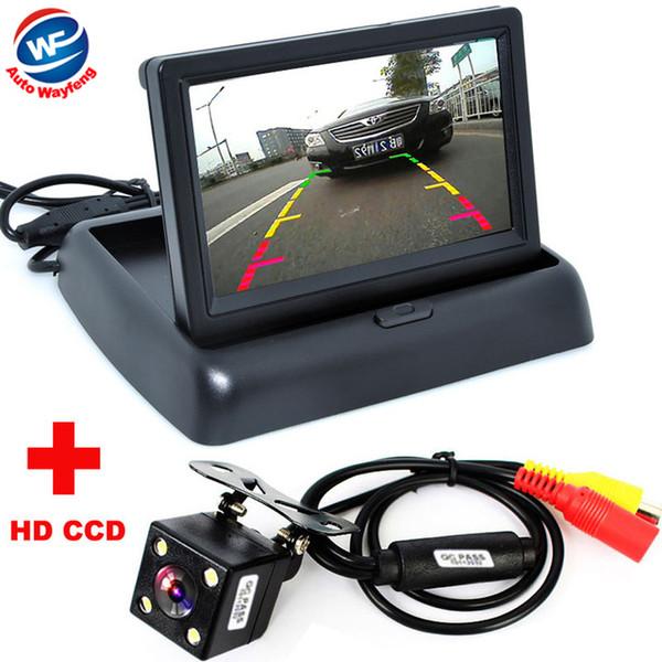 Toptan Satış - Toptan-Oto Park Yardımı Yeni 4LED Gece Görüş Araç CCD Dikiz Kamera 4.3 inç Renkli LCD Araç Video Katlanabilir Monitör Kamera