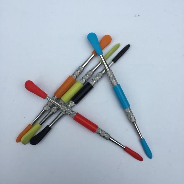 Ferramenta de cera dabber vax atomizador de aço inoxidável dab ferramenta com ponta de silicone ferramenta de cera erva seca vaporizador caneta dabber Skillet vape dabber