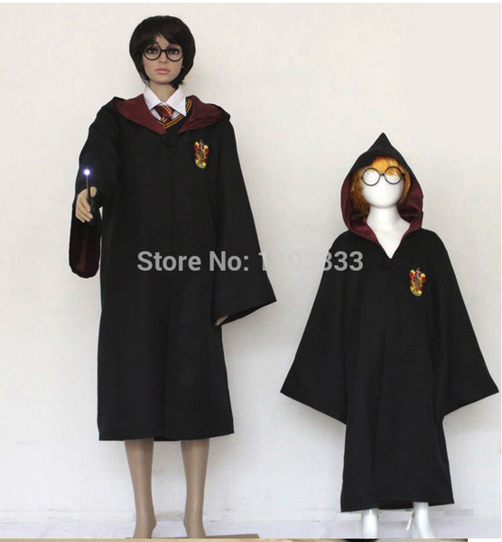 top popular Halloween party clothes Cosplay costume Harry Potter Gryffindor Slytherin Hufflepuff Ravenclaw Cloak magic robe Kids Adult 2019