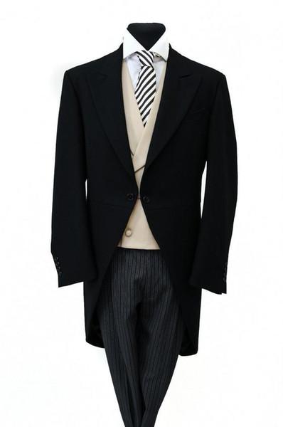Por encargo Nuevo estilo esmoquin novio NEGRO HERRINGBONE MAÑANA COLA CORTE HOMBRES FORMAL ASCOT COLECCIONES JUEGO BODA (chaqueta + chaleco)