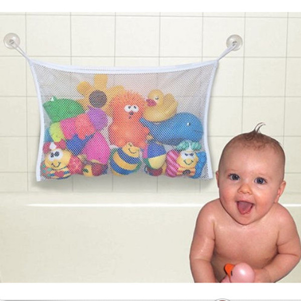 Wholesale- 1pc 45*35cm Useful Durable Baby Kids Children Bath Toys Pouch Storage Containers Net Mesh Bag Strong Sucker