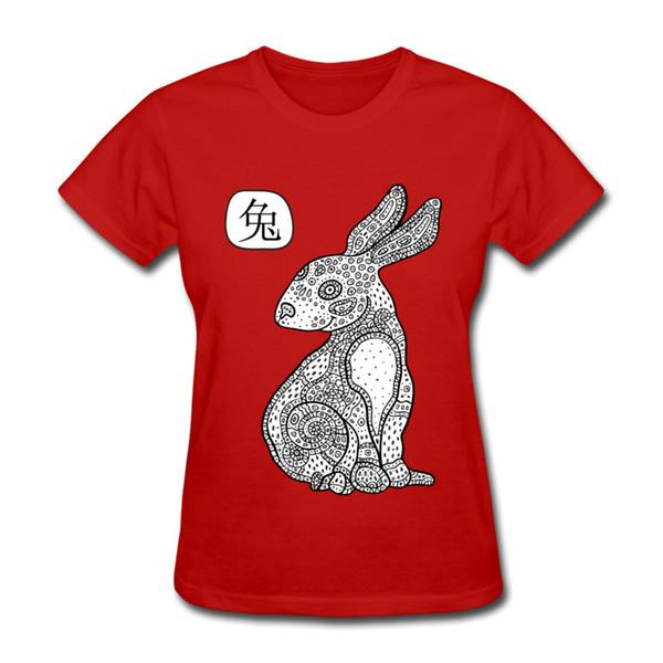 On sale Art animal printing woman T-shirt self made unique style girl round collar shirt cotton cloth Cartoon rabbit