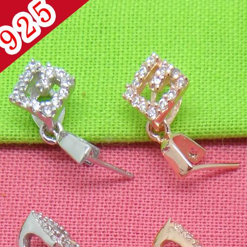 Factory Price-Min 5piece,925 Sterling Silver Platinum-Rose Gold Square Pendant Clip Jewelry Connectors for diy