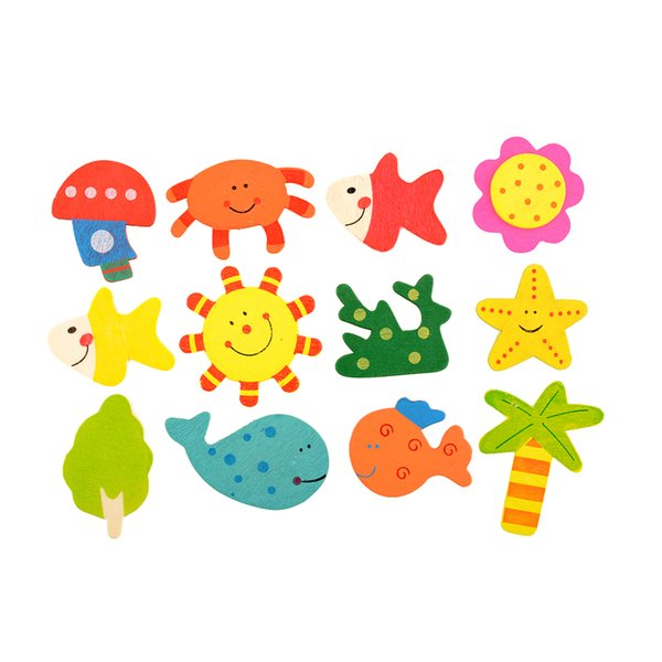 best selling Wholesale-2016 New 12pcs Set Kids Baby Wood Wooden Cartoon Pattern Fridge Magnet Child Educational Toy Gift Hot