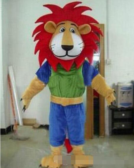 Hot selling 2016 Fire Red Manes Athlete Lion Animal Mascot Costumes Halloween Costume Cartoon Suit Fancy Dress Outfit