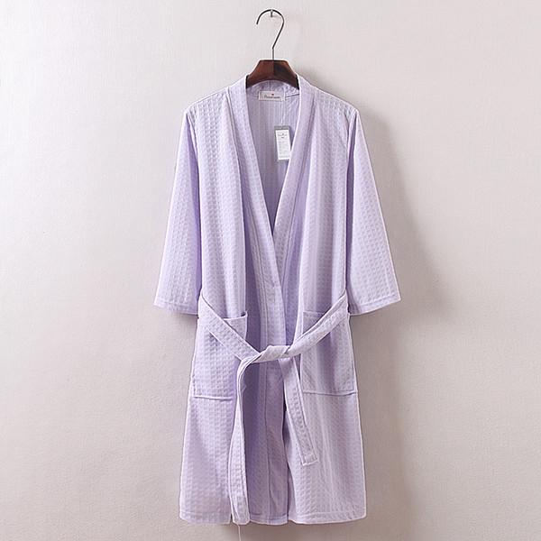 Vente en gros-vente chaude Summer Waffle tissus de coton sept couleurs simples femmes décontractées robes à manches longues peignoir pour les robes de salon de beauté de l'hôtel