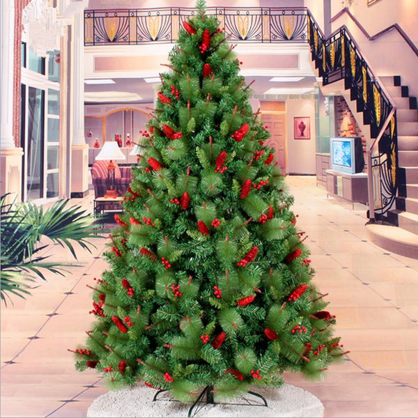 New Year Christmas 2.1 m / 210CM red berries mixed pine needles pinecone Christmas tree Christmas Decoration