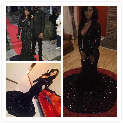 Bling Black Sequin Prom Dresses 2016 Long