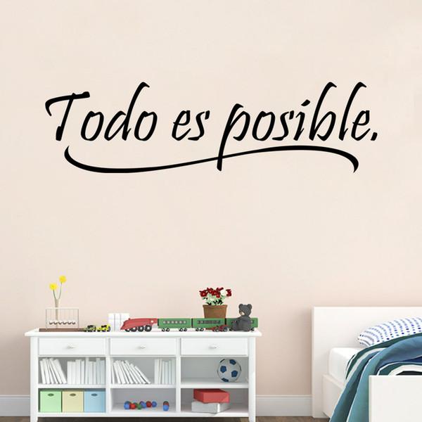 Acquista AW9221 Tutto È Possibile Spagnolo Inspiring Quotes Wall Sticker  Home Decor Camera Da Letto Bambini Adesivo Murale In Vinile A $4.62 Dal ...