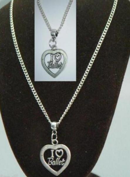 Vintage Silber Ich Liebe Ballett Charme Chokerkragen NecklacesPendants Für Frauen Geschenk DIY Schmuck Mode-Accessoires Souvenir Heißer NEUE Q30
