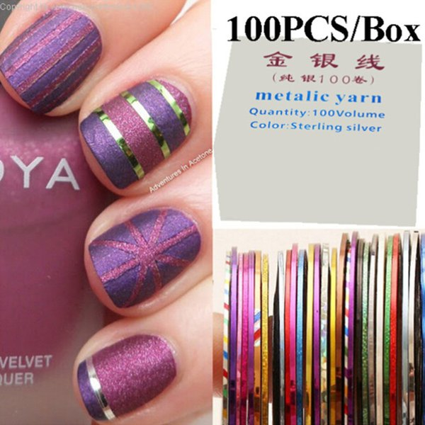 32 Multicolor Mixed Metallic Yarn Rolls Striping Tape Line Diy Nail ...