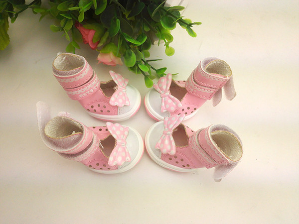 New Spring Summer Lovely Cheap Pet Puppy Sandal Mesh Dog Shoes With Bowknot Decoration Rubber Sole Material For Pets Hot Sale