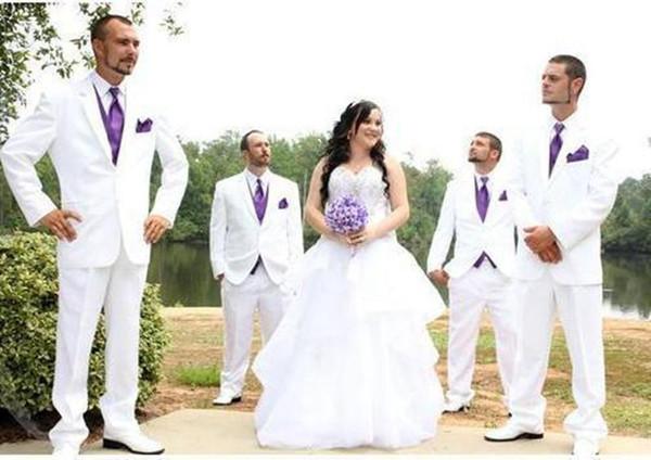 Handsome White Grooms Tuxedos for Wedding with Purple Vest Men Formal Business Suit Groomsmen Suit (Jacket+Vest+Tie+Pants)