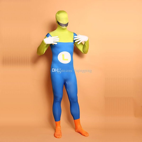 Halloween Super Mario Cosplay Costumes Unitard Lycra Spandex Full Body Zentai Catsuit For Women