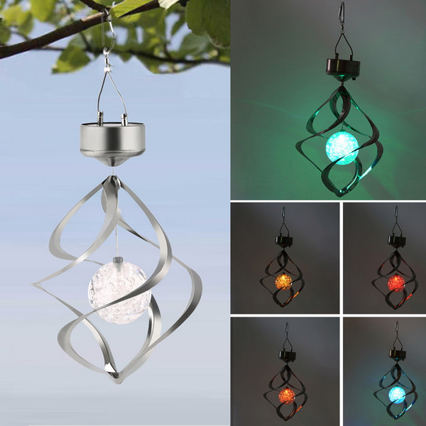 New Color Changing Solar Powered LED Wind Chimes Wind Spinner Outdoor Hanging Spiral Garden Light Courtyard Decoration