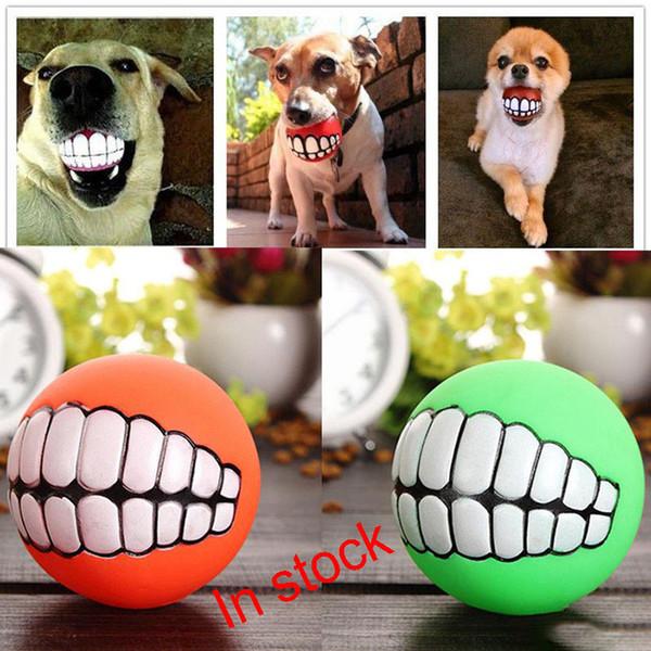 2017 Pet Puppy Dog Funny Ball Teeth Silicon Chew Sound Dogs Play New Funny Pets Dog Puppy Ball Teeth Silicon Toy XL-G319