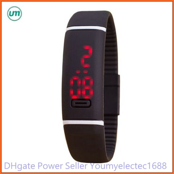 2015 2016 newly Sport LED Watches red light Candy Color Silicone Rubber Touch Screen Digital Watches Waterproof Bracelet Wristwatch