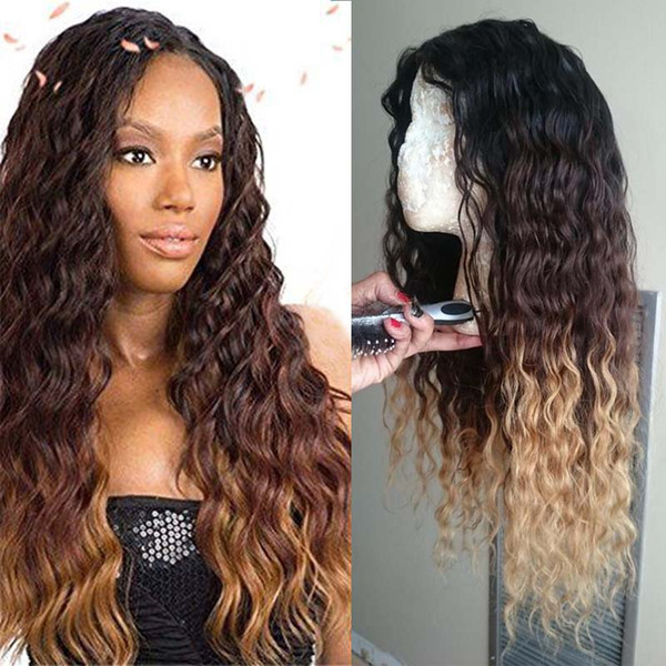 # 1b / 4/27 Tres tonos de onda profunda Ombre encaje frente peluca Glueless Ombre encaje peluca pelucas llenas del cordón Ombre para las mujeres negras