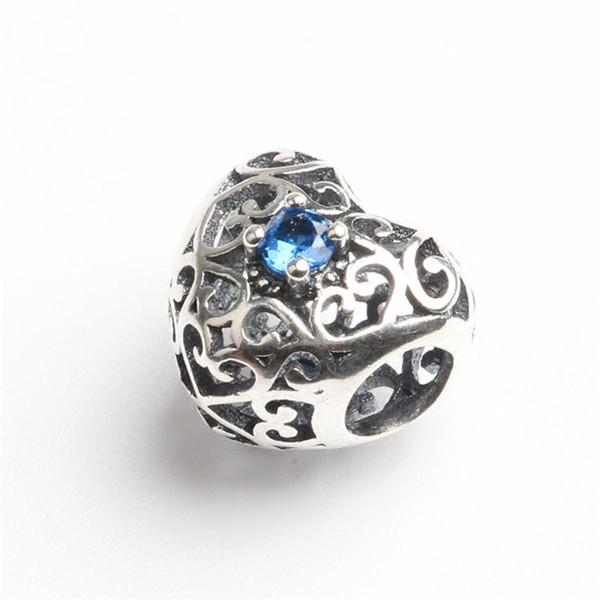 100% 925 Sterling Silber Perlen Schmuck Heißer Verkauf Großes Loch Herzform Liebeszauber für Europäische Schlangenkette Armbänder Pandora Armband