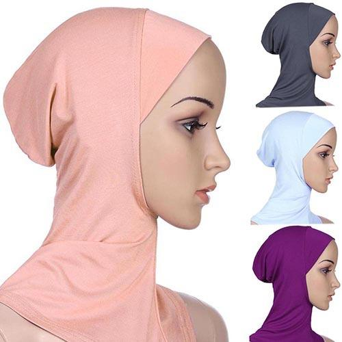 top popular Wholesale-2016 Gorgeous!!! Soft Muslim Full Cover Inner Hijab Cap Islamic Underscarf Neck Head Bonnet Hat 2019