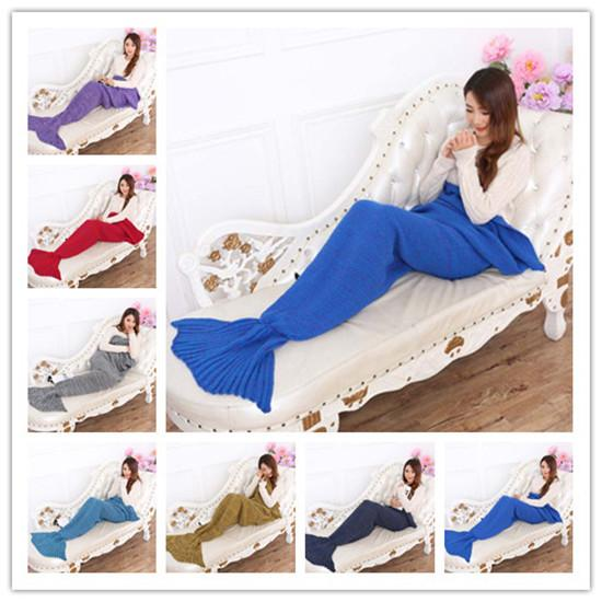 20PCS Crochet Mermaid Tail Blanket Super Soft Warmer Blanket Bed Sleeping Costume Air-condition Knit Blanket Free Shipping