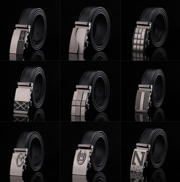 top popular 20PCS HHA779 Hot 77 designs Fashion belt MENS Genuine Leather belts Waist Strap Belts Automatic Buckle Black leisure business leather belts 2019