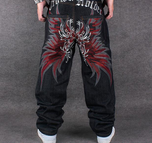 DHL Free COOL Graffiti long Loose Relaxed Casual Pants fashion NY Skateboard embroidery Dragon jeans Rap boy B BOY Trousers Size 34~42