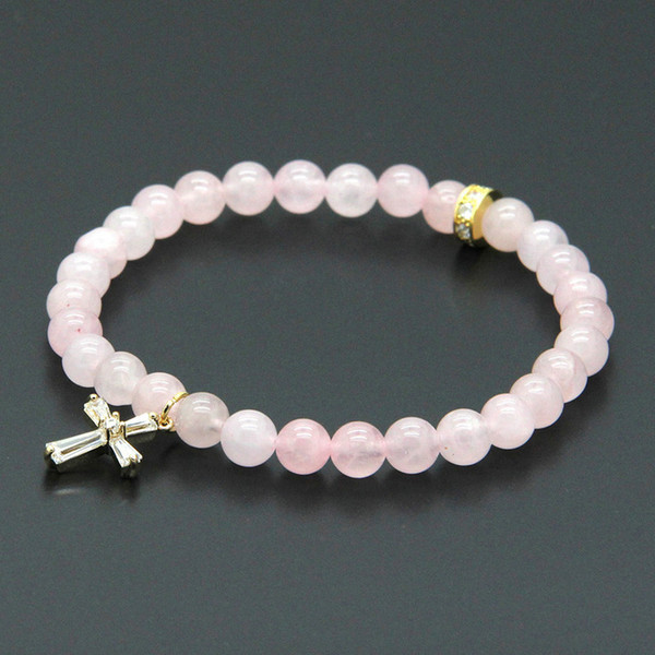Easter Wholesale 10pcs/lot 6mm Natural Pink Quatz Crystal Stone Beads with Micro Paved Clear Zircons Spacer Cz Beads Cross Bracelets