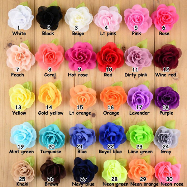 top popular Chiffon Rose Flower Hairpins Kids Accessories Green Leaf Children Hair Accessories Baby Delicate Rose Hair Clip 2019