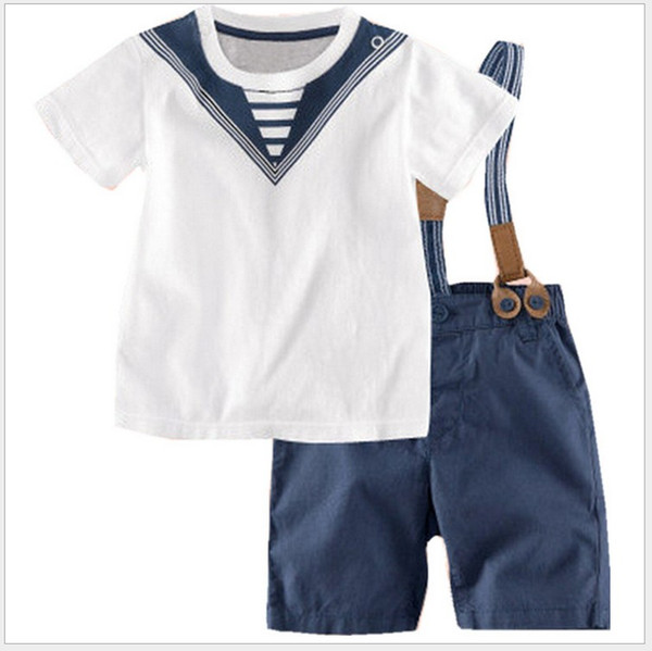 Two-Pieces Sets Navy Style 2016 Summer New Boys Short Sleeve Striped T-shirt Tops+Suspender Shorts Kids Suits Children Outfits 5sets/lot