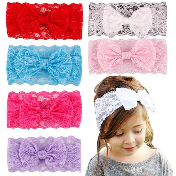 20pcs/lot Childrens Baby Hair Accessories Lace Hair Flower Headbands Big Bow Elastic Headbands for girls Children Vintage Head Wrap KHA375
