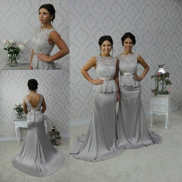Vestidos de dama de honor de sirena larga gris Sash Mancha de encaje sin respaldo sin mangas festoneado formal vestido de noche Prom vestidos por encargo más el tamaño